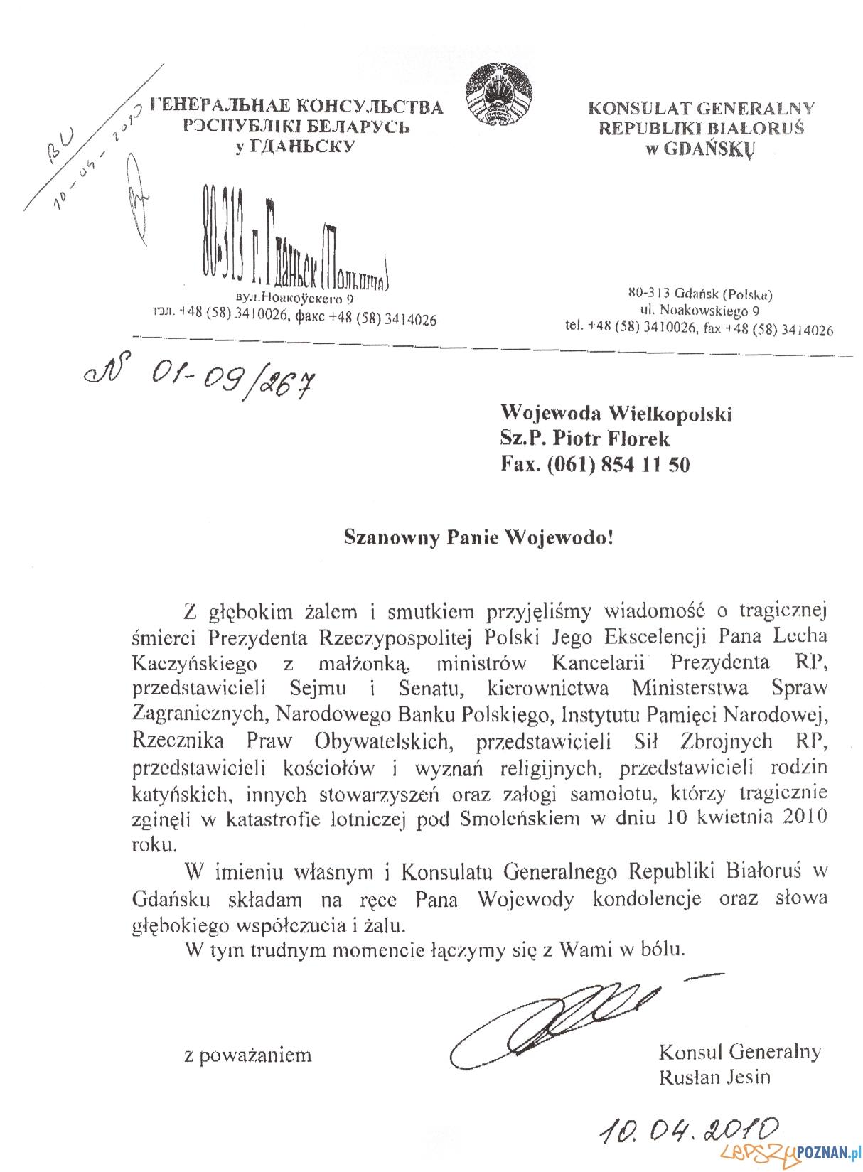kondolencja Bialorus  Foto: