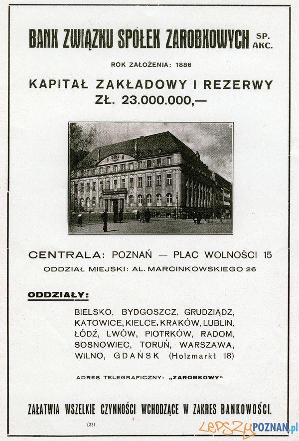 Bank Pl. Wolności 15  Foto: Muzeum Narodowe w Poznaniu, wystawa Miejska ikonosfera na drukach reklamowych z widokami Poznania 18