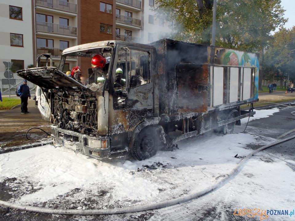 Pożar ciężarówki na Dymka (2)  Foto: PSP w Poznaniu