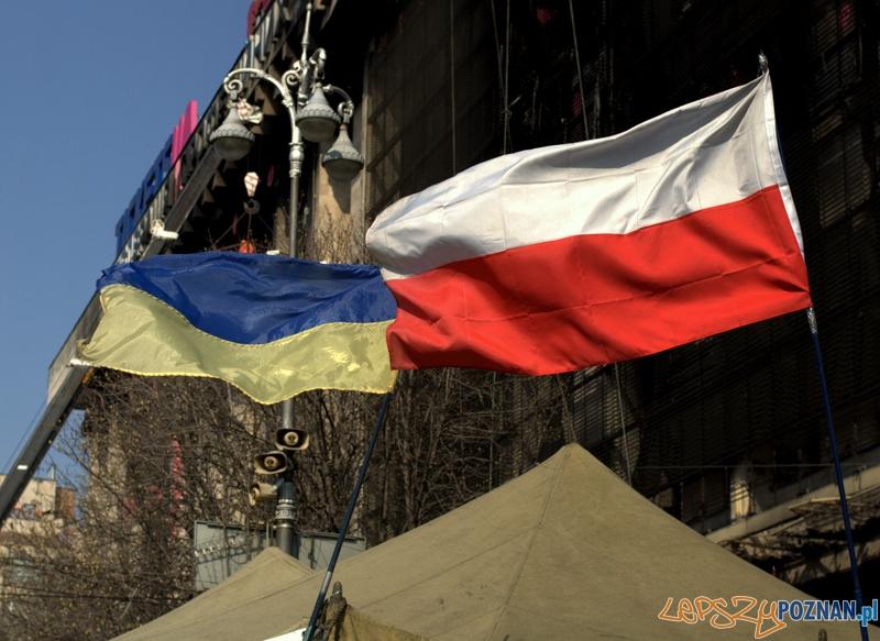Na Majdanie oprócz flagi ukraińskiej można zobaczyć również flagę polską, ale również amerykańską, australijską i – co najważniejsze – można spotkać flagę białoruskiej opozycji, której używają tylko przeciwnicy Łukaszenki.  Foto: lepszyPOZNAN.pl / Mathias Mezler
