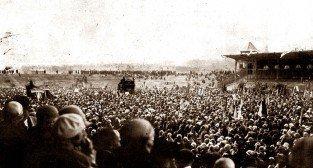 Otrwarcie na stadionie na Wildzie Wszechsłowiańskiego Zjazdu Śpiewaczego  Foto: Wielkopolska Ilustracja nr 34 z 26 maja 1929, str. 2