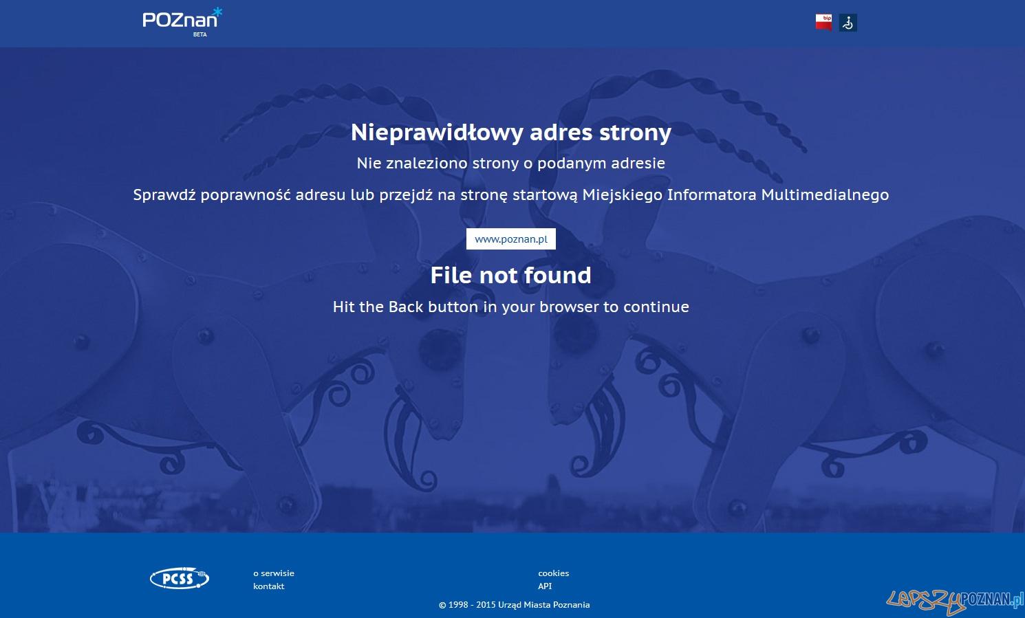 Niedostępny serwis poznan.pl  Foto: lepszyPOZNAN.pl