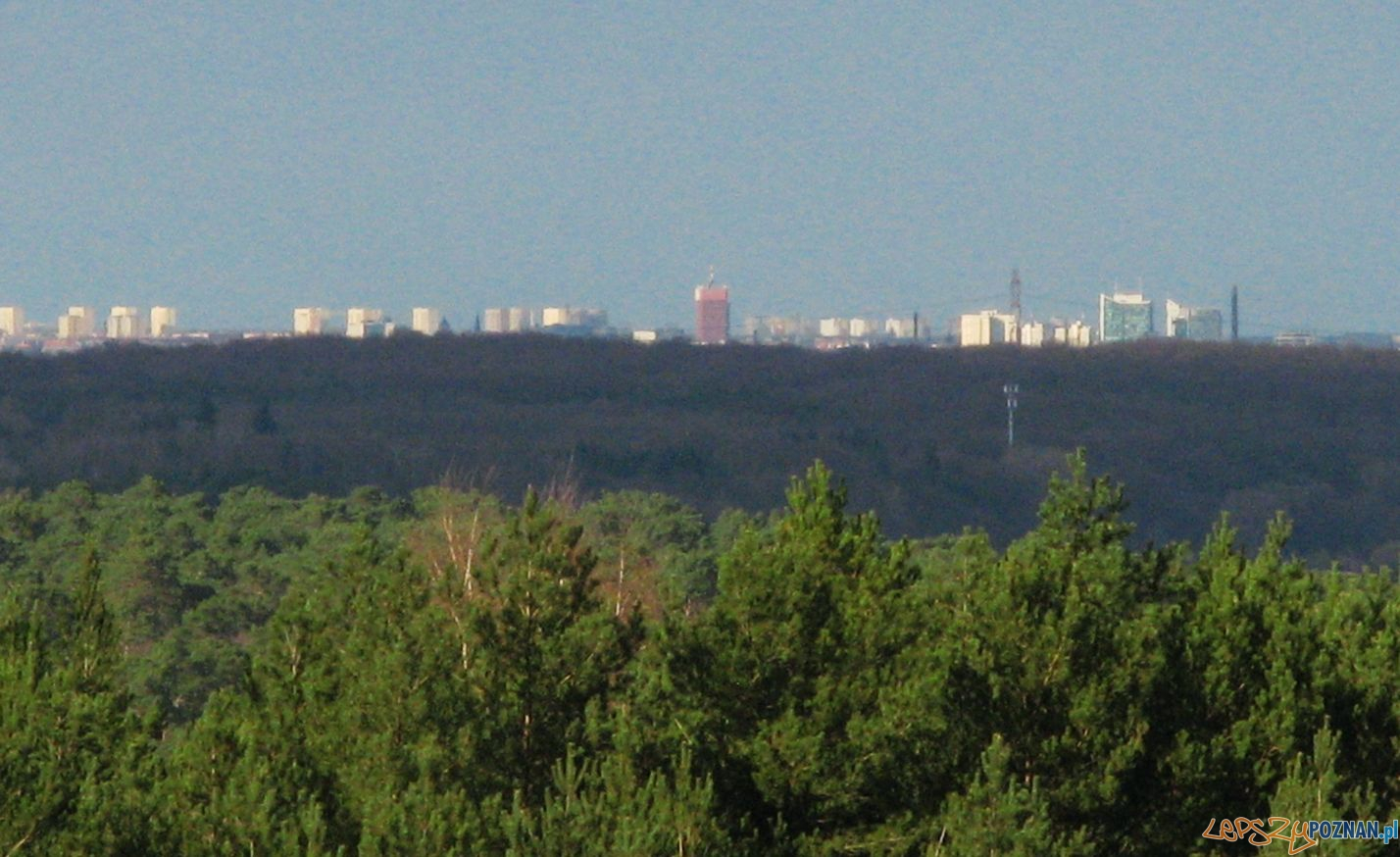 Widok z wieży w Mosinie na Poznań  Foto: swierczewo.poznan.pl