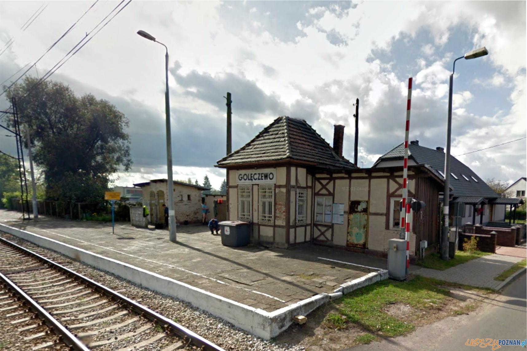 Zabytkowy budynek stacji kolejowej w Golęczewie  Foto: Google Streets