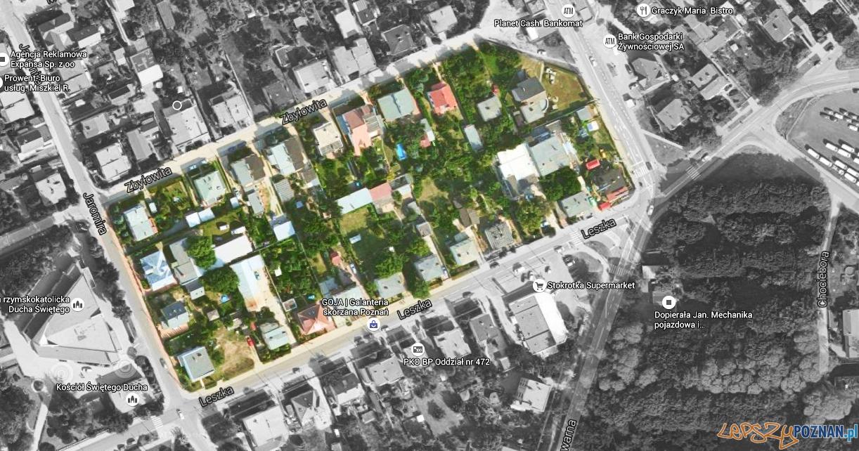 Rejon ulic Zbyłowita i Leszka  Foto: Google Maps