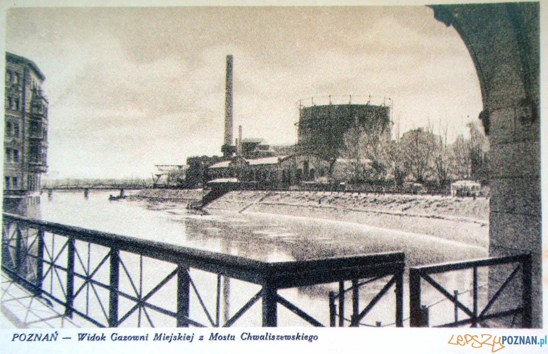 Gazownia z Mostu Chaliszewskiego, około 1930 r.  Foto: