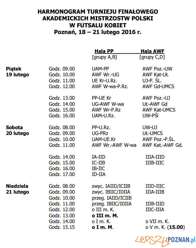 Harmonogram meczów drużyn kobiecych - Akademickie Mistrzostwa Polski 2016  Foto: Akademickie Mistrzostwa Polski