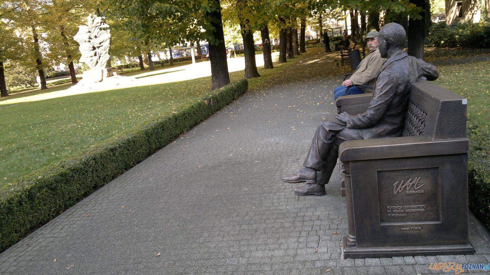 Ławeczka Kostrzewskiego w zamkowym parku  Foto: Tomasz Dworek