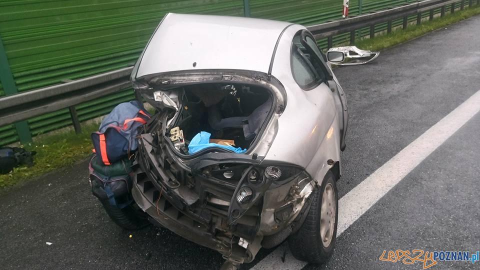 Wypadek na autostradzie A2  Foto: OSP Kleszczewo