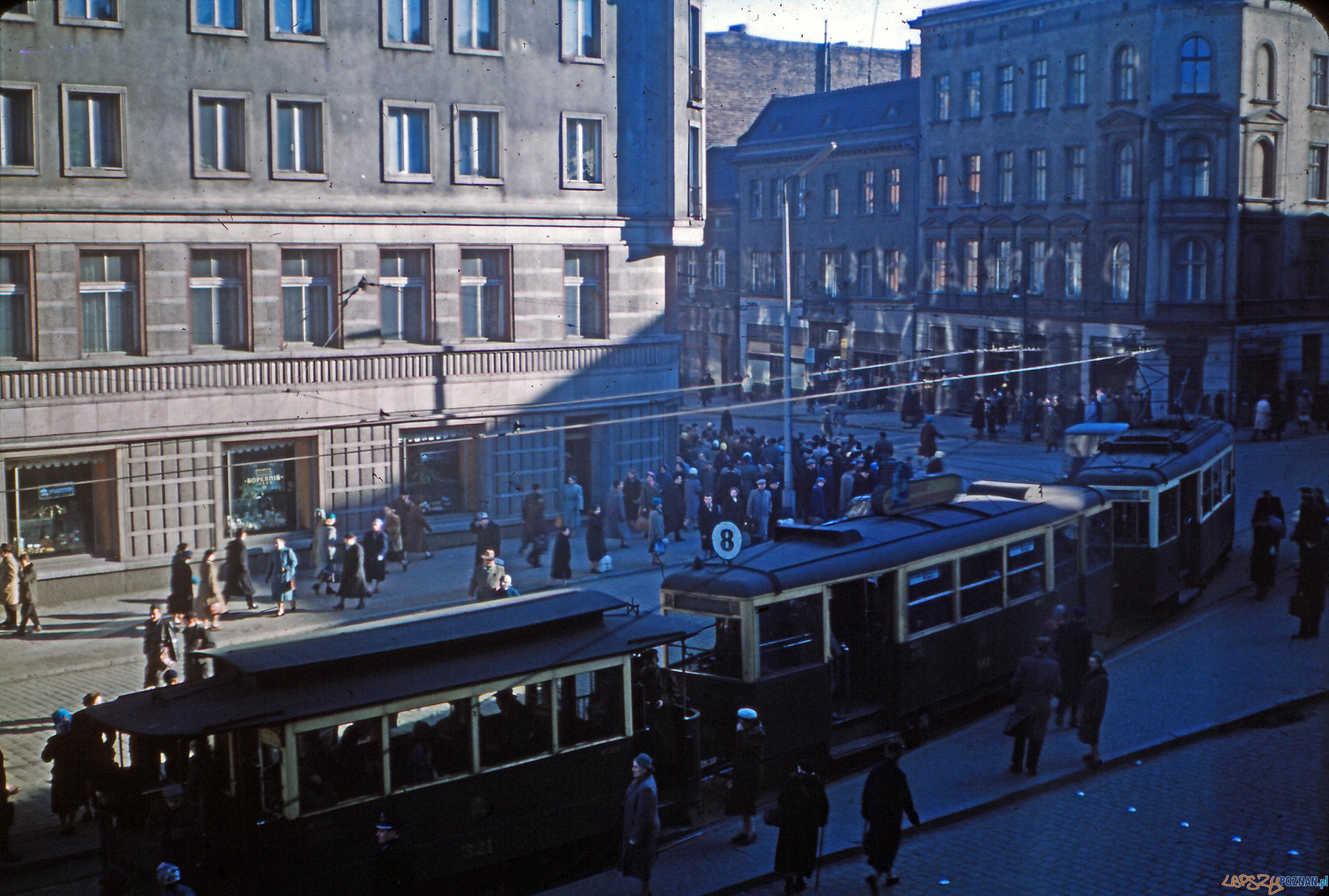Aleje Marcinkowskiego - Podgórna - koniec lat 50-tych  Foto: Mogens Tørsleff, kolekcja Gorma Rudschinata / Flickr / CC
