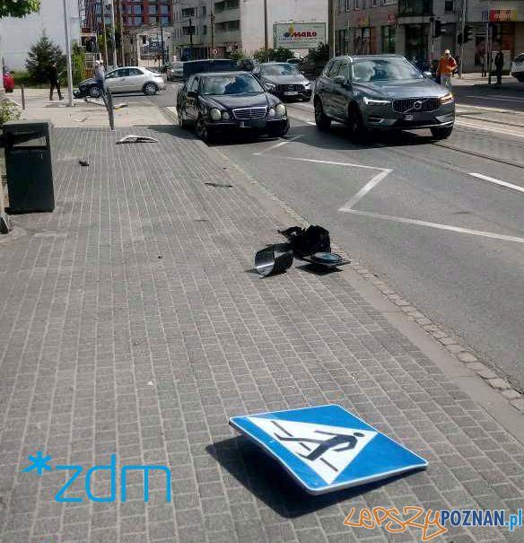 Głogowska  Sielska - staranowana sygnalizacja świetlna  Foto: ZDM