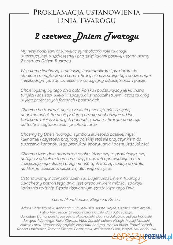 Proklamacja ustanowienia Dnia Twarogu Foto: materiały prasowe