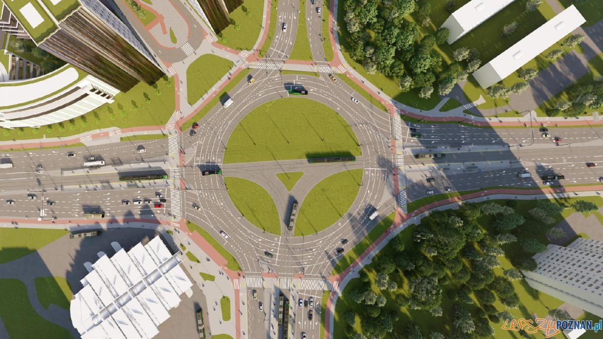 Wizualizacja przebudowy ronda Rataje Foto: materiały prasowe / UMP
