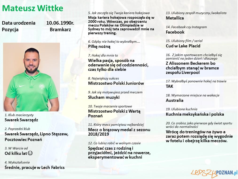 Warta Poznań - Mateusz Wittke Foto: Warta Poznań / materiały prasowe