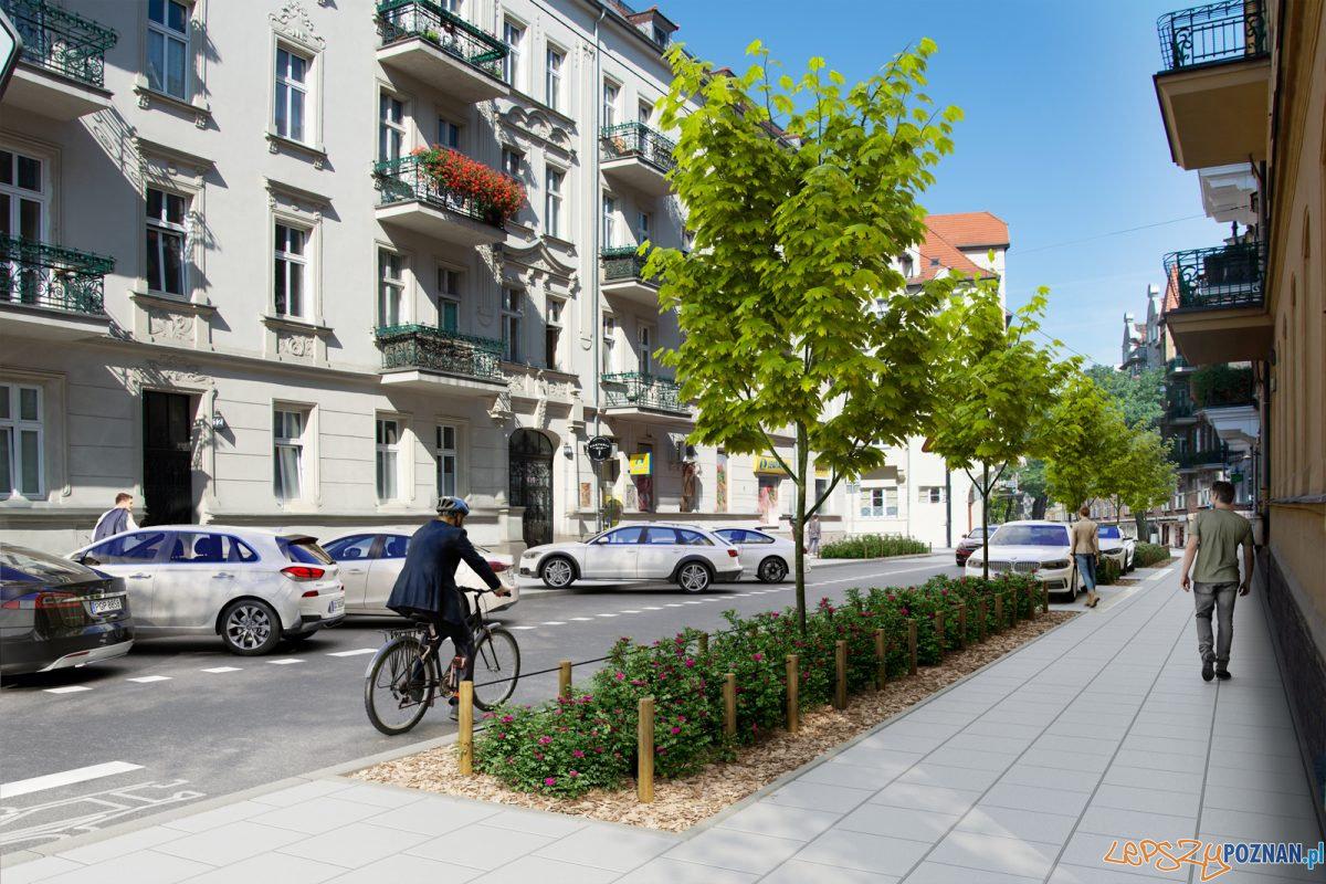 Wizualizacja ul. Małeckiego po wprowadzeniu Strefy Płatnego Parkowania na Łazarzu Foto: UMP